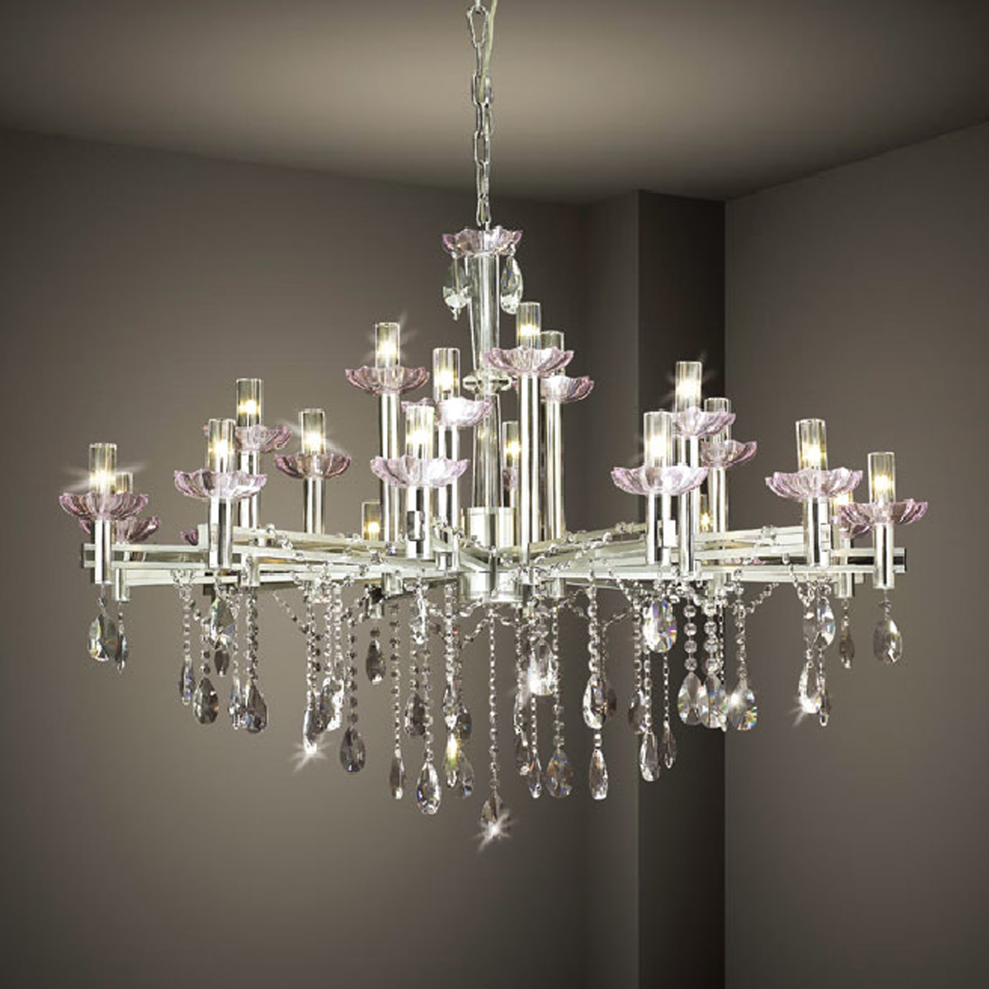 Hanging Modern Crystal Chandelier Lighting With Stainless Steel Throughout Contemporary Large Chandeliers (Image 10 of 15)