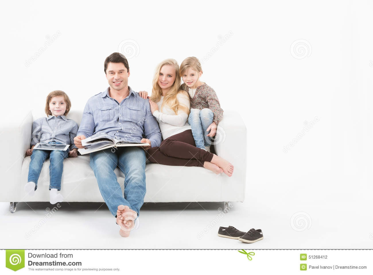 Happy Family Reading A Book On Sofa Royalty Free Stock Images With Family Sofa (Image 9 of 15)