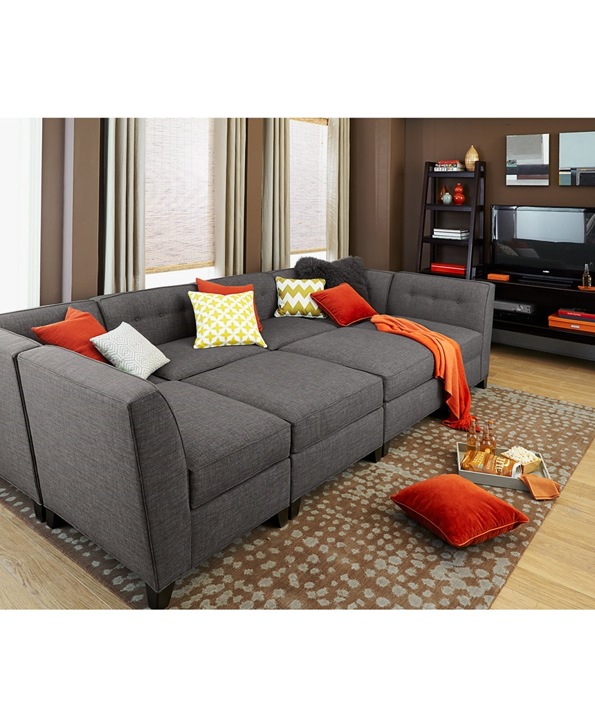 Harper Fabric 6 Piece Modular Chaise Ottoman Sectional Sofa For 6 Piece Modular Sectional Sofa (Image 6 of 15)