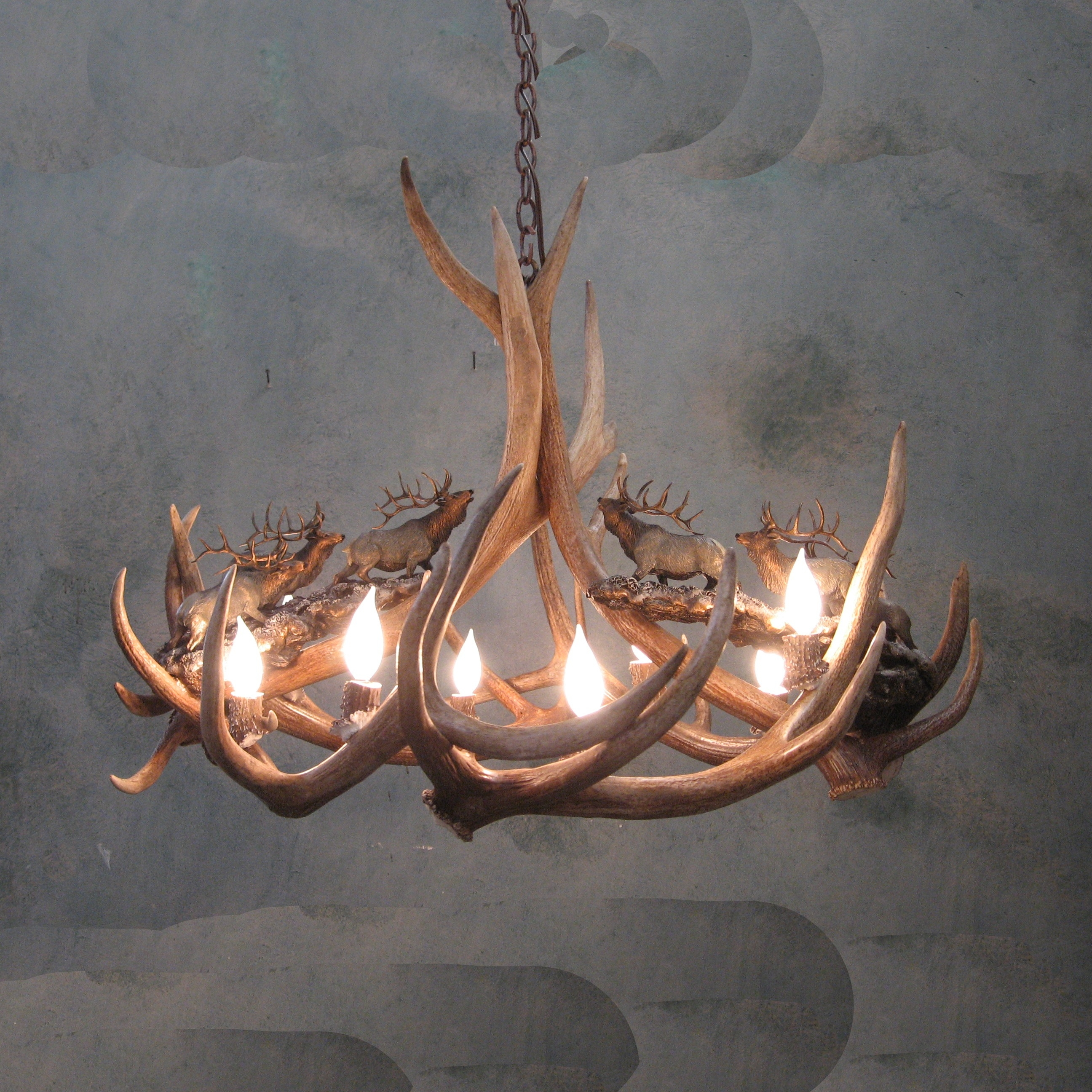 Headed High Bronze Elk Antler Chandelier With Antler Chandelier (Image 7 of 15)