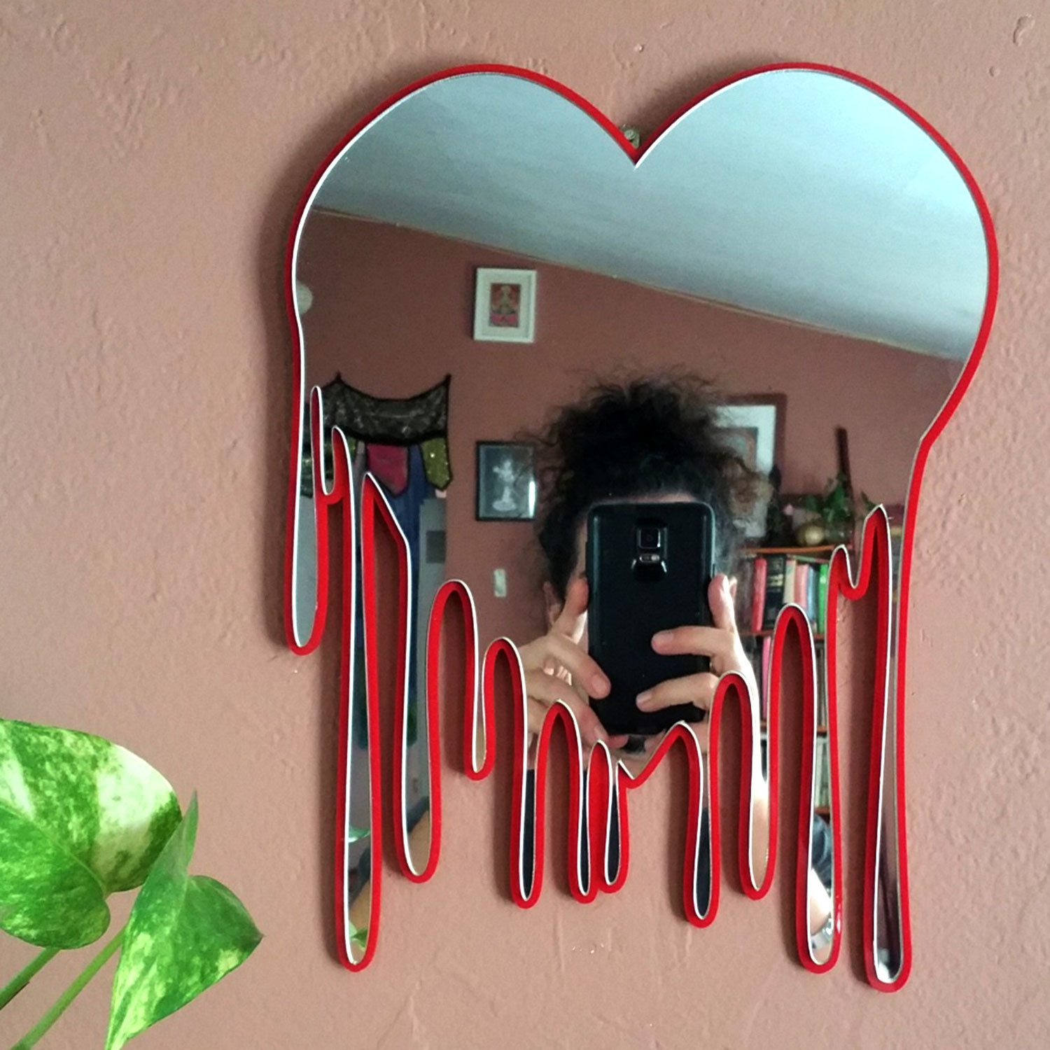 Heart Art Bleeding Heart Wall Art Heart Wall Mirror Decorative Within Red Wall Mirrors (Image 7 of 15)