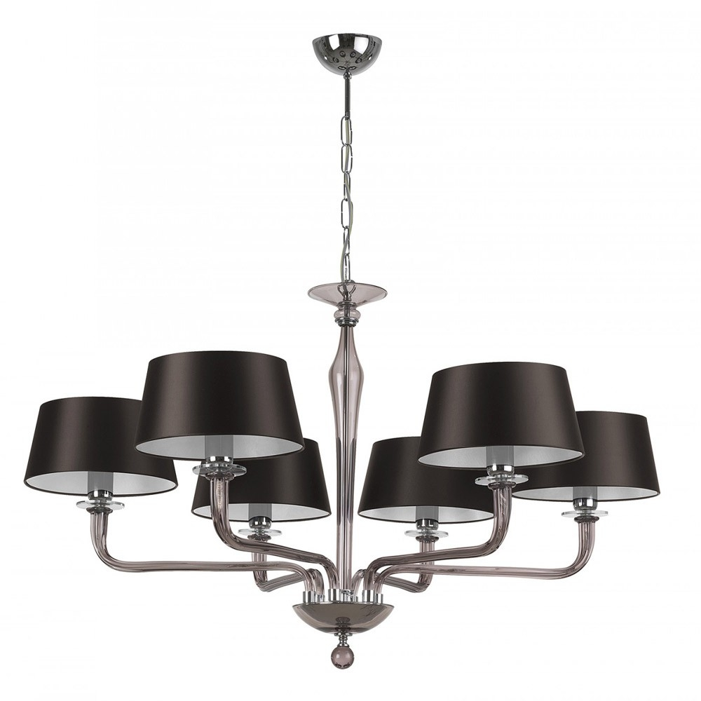 Heathfield Co Czarina Smoke Crystal Chandelier 6 Arm Houseology Throughout Smoked Glass Chandelier (Image 8 of 15)