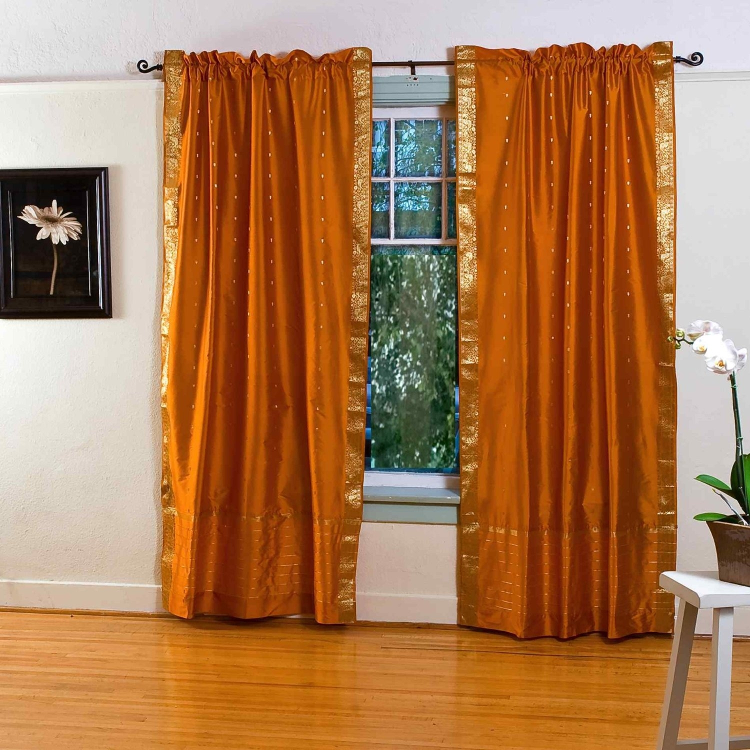 Heavenly Faux Silk Double Orange Curtains Hang On Bronze Curtain Regarding Orange Silk Curtains (Image 6 of 15)