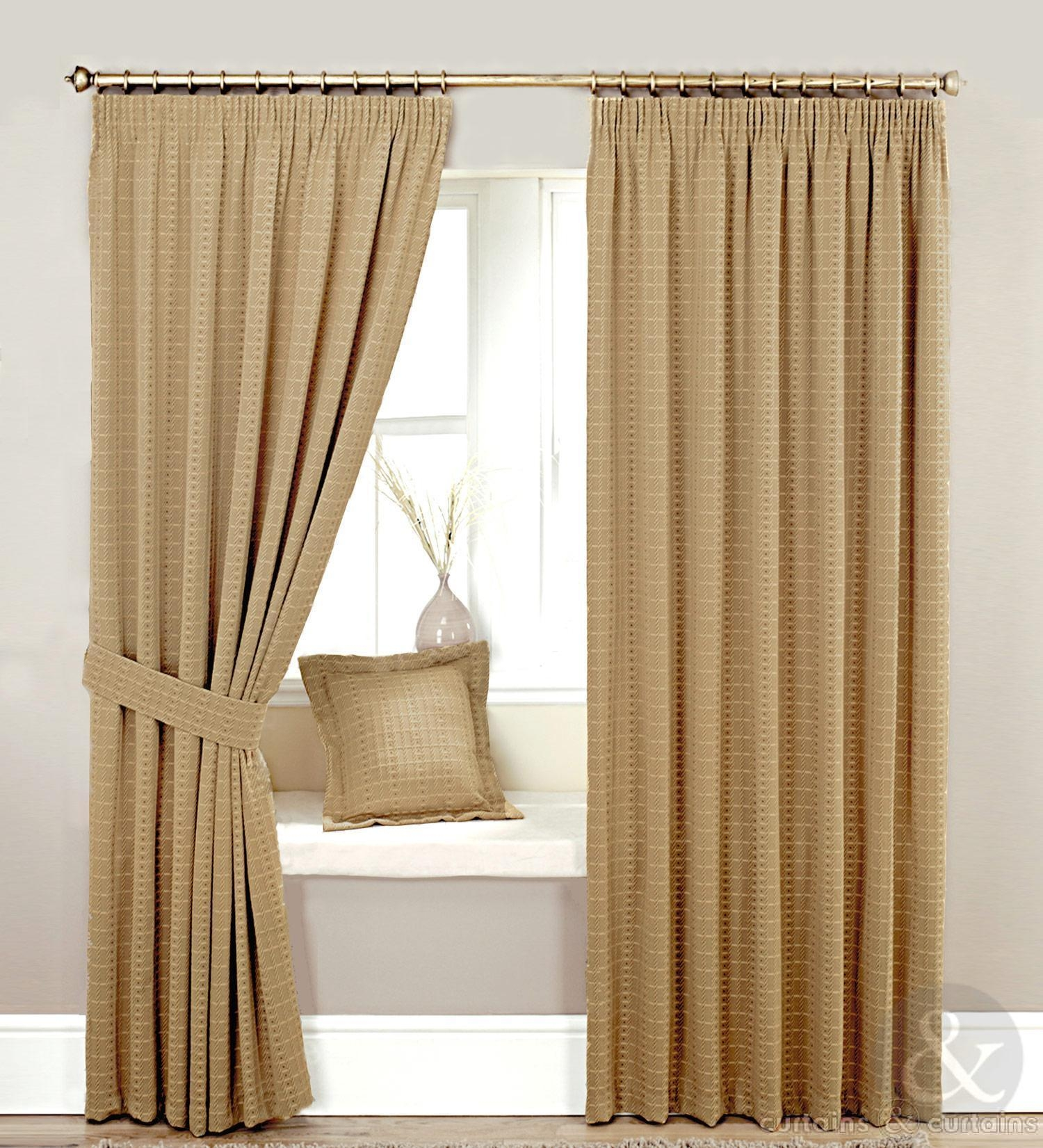 Heavy Jacquard Brown Beige Lined Curtain Curtains Uk Intended For Heavy Lined Curtains (Image 4 of 15)