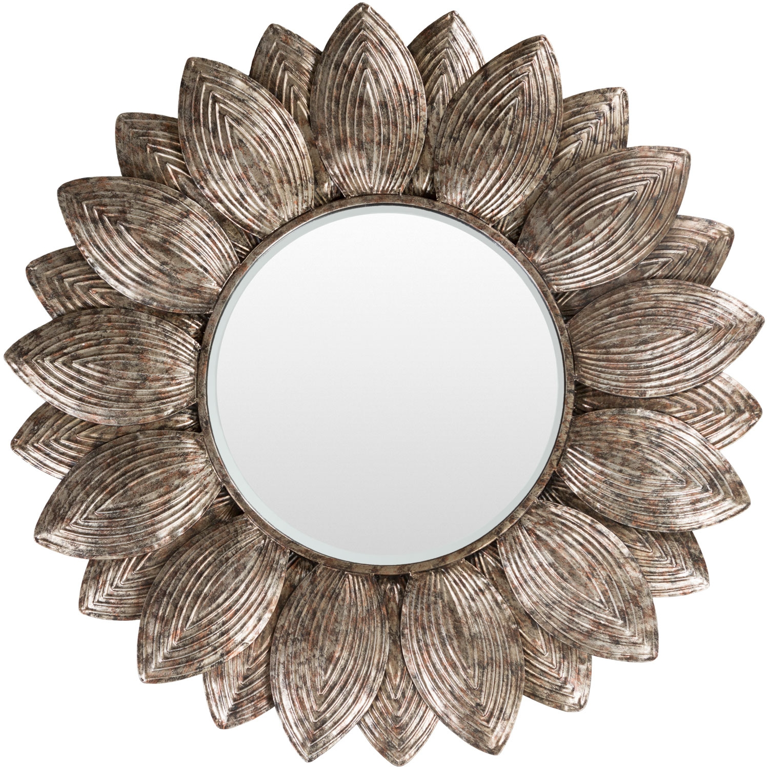 Helios Champagne Wall Mirror Surya Round Mirrors Home Decor Intended For Champagne Wall Mirror (View 5 of 15)