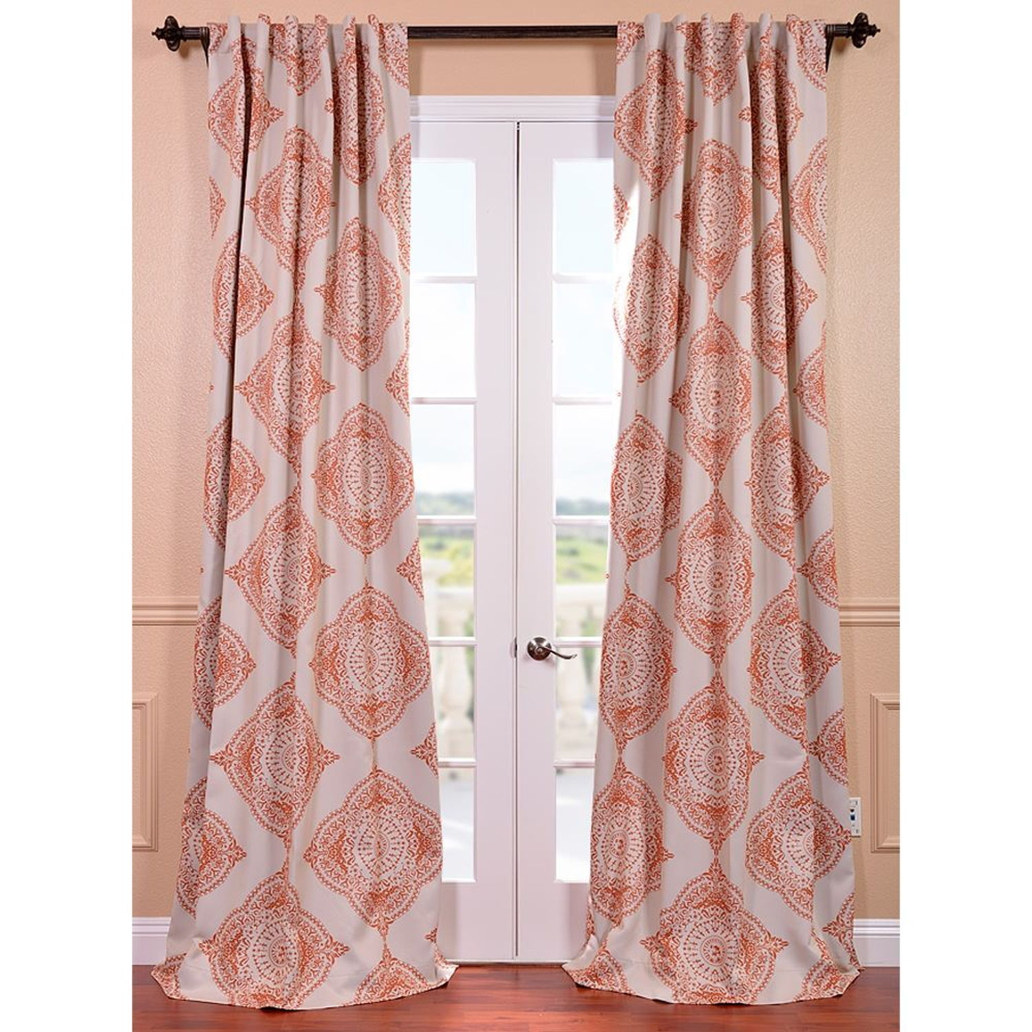 Henna Orange 50 X 96 Inch Blackout Curtain Half Price Drapes Within Orange Silk Curtains (Image 7 of 15)