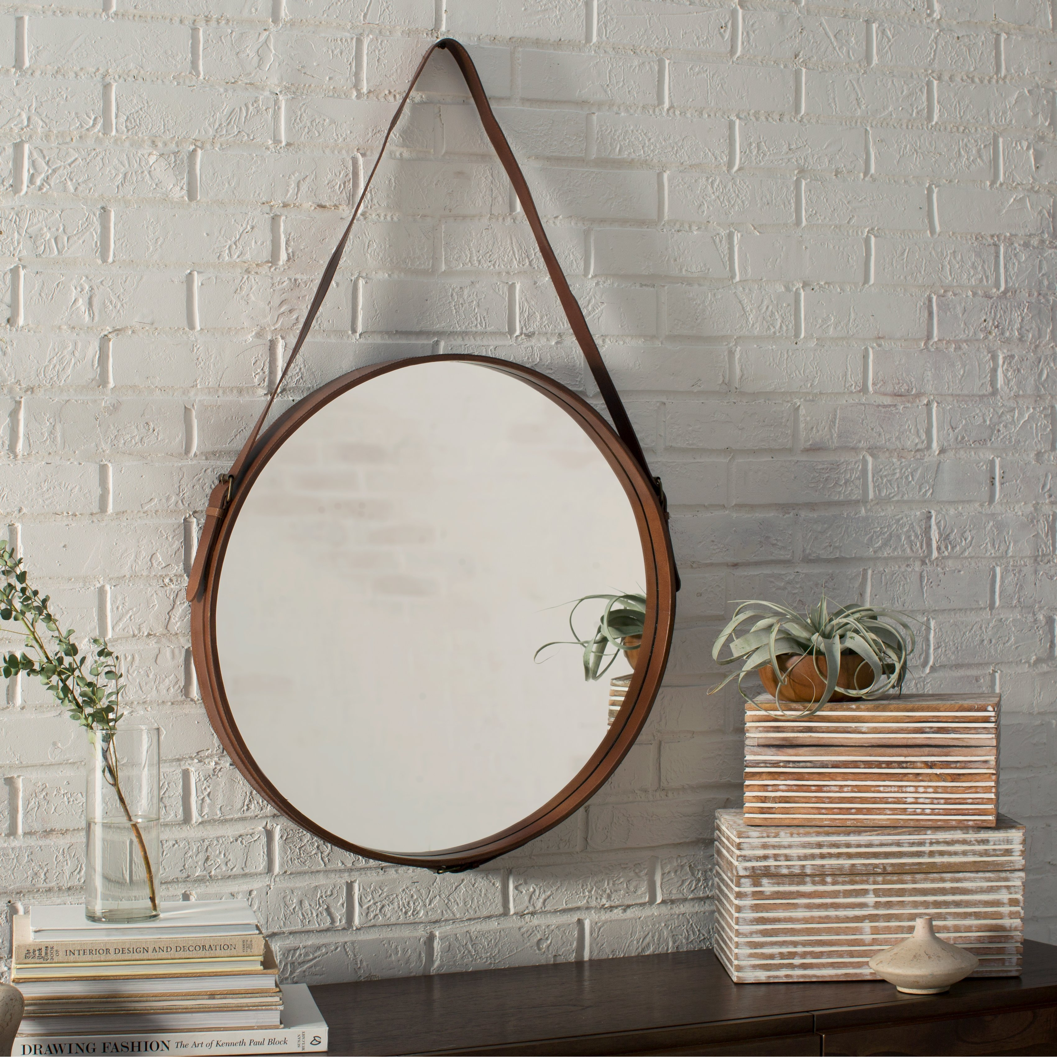 Hereford Leather Wall Mirror Reviews Joss Main Intended For Leather Wall Mirror (View 5 of 15)