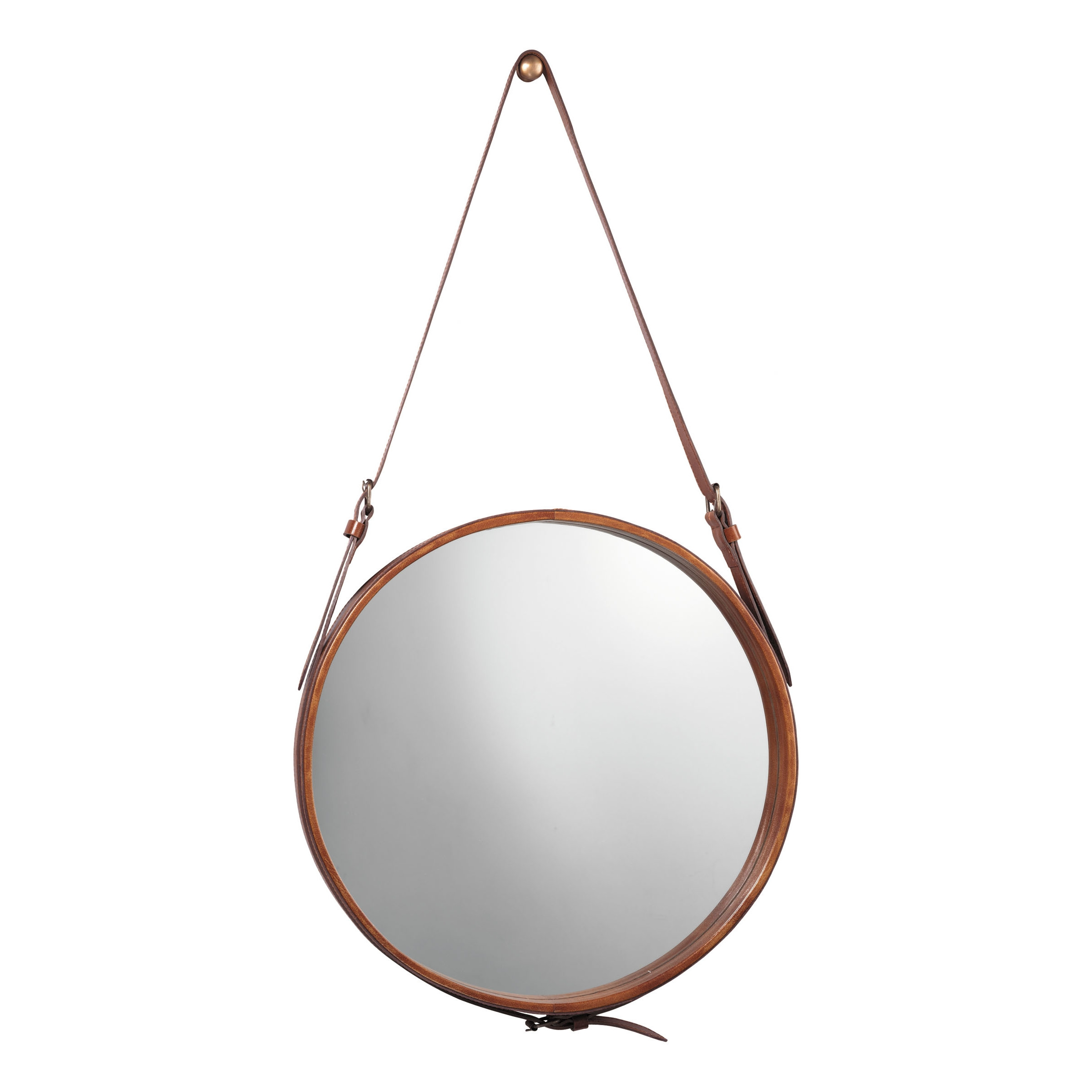 Hereford Leather Wall Mirror Reviews Joss Main Regarding Leather Wall Mirrors (Image 7 of 15)