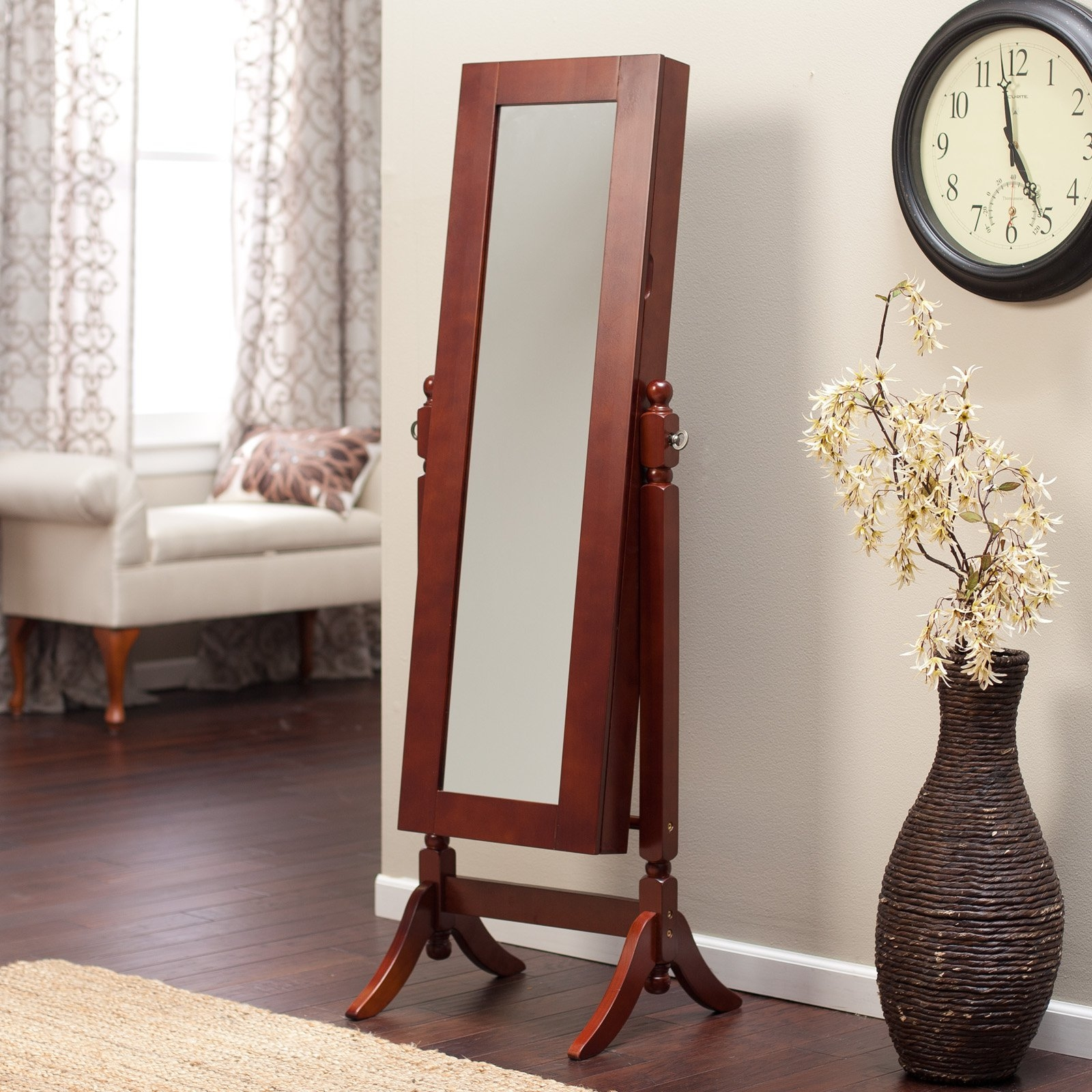 Heritage Jewelry Armoire Cheval Mirror Cherry Walmart Regarding Cheval Freestanding Mirror (Image 12 of 15)