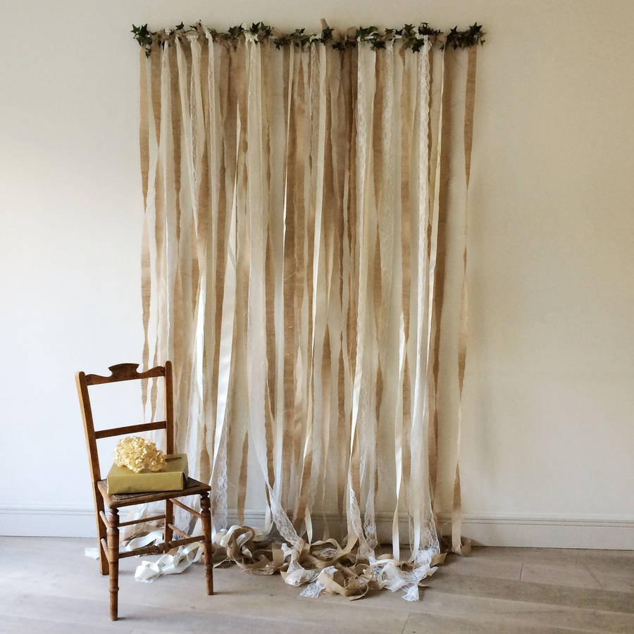 Hessian And Lace Wedding Backdrop Just Add A Dress With Hessian Curtains (Image 10 of 15)