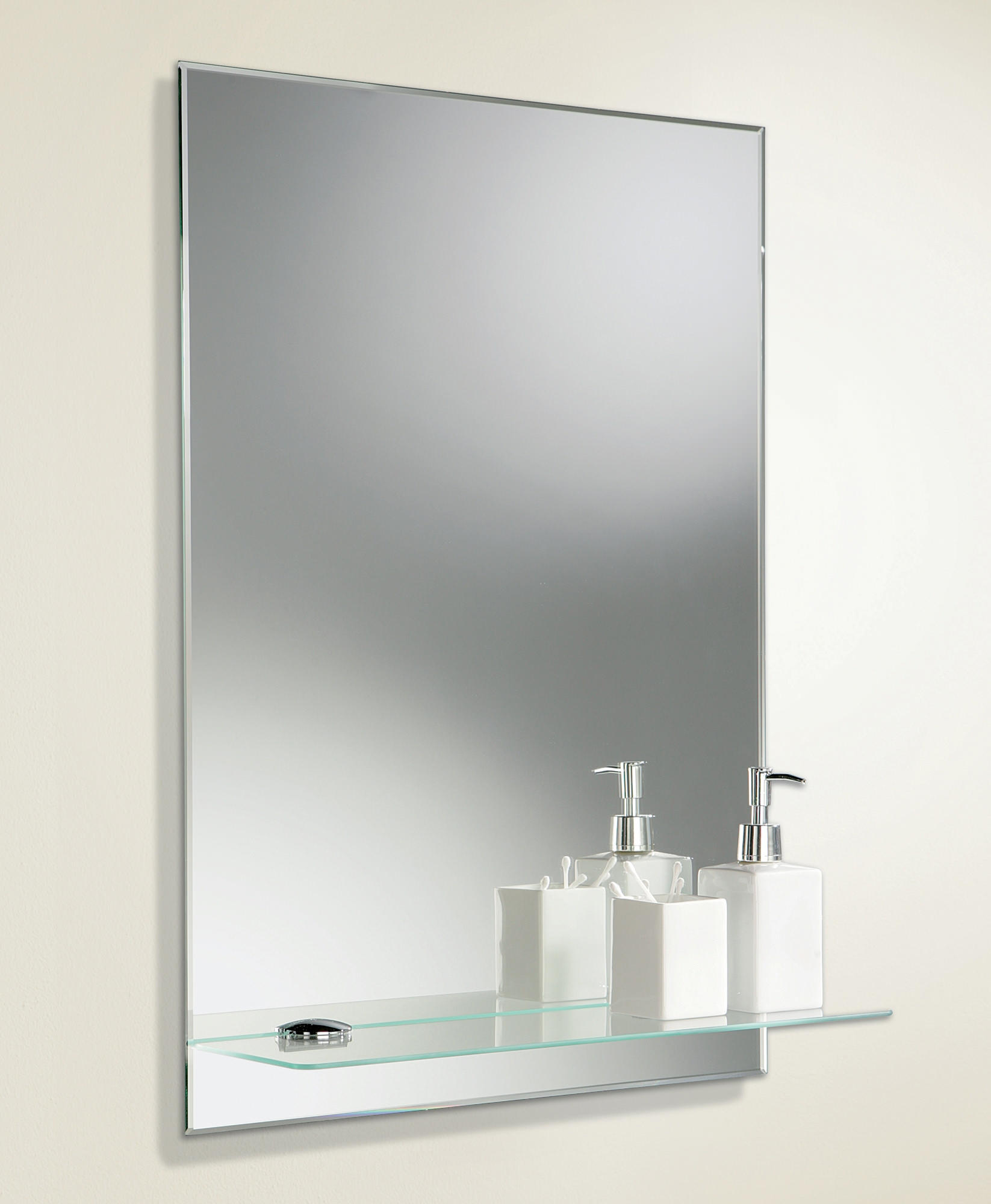 Hib Del Rectangular Bevelled Edge Mirror With Glass Shelf 72026000 Pertaining To Bevelled Glass Mirror (Image 9 of 15)