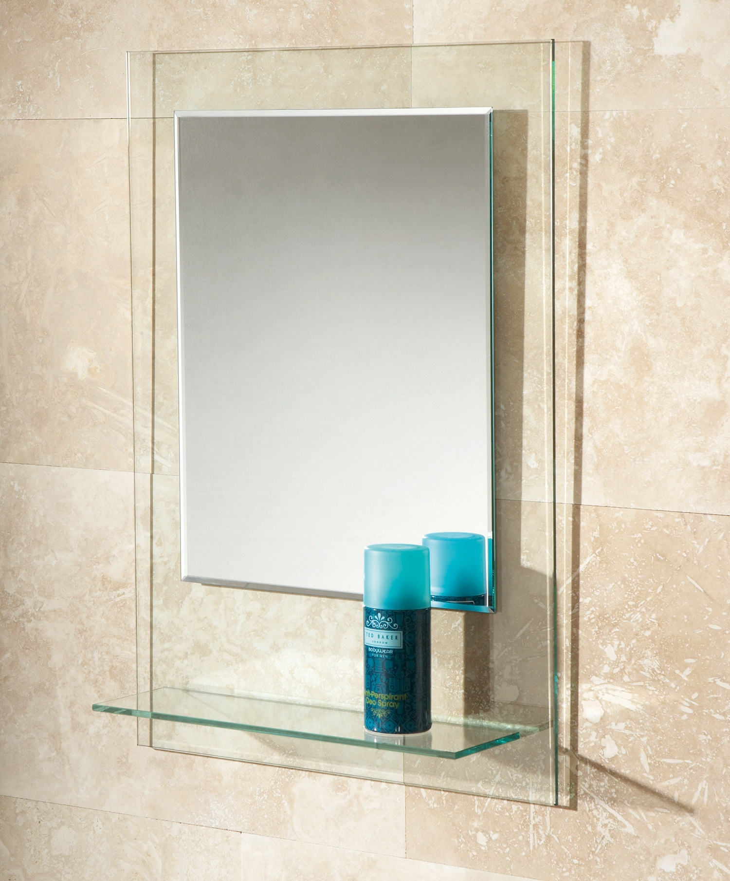 Hib Fuzion Bevelled Edge Mirror With Glass Shelf 72300100 Regarding Bevelled Edge Bathroom Mirror (Image 8 of 15)