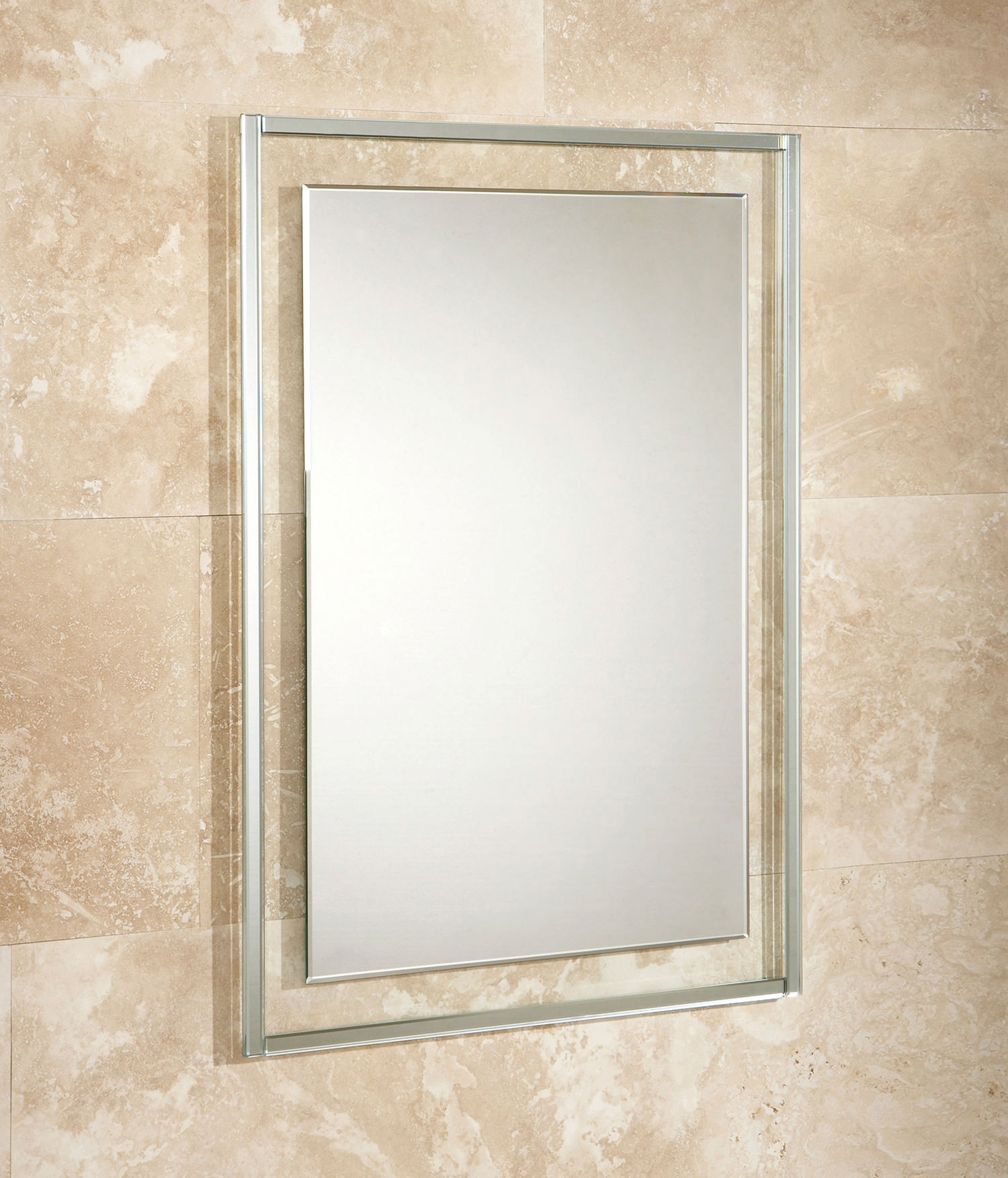 Hib Georgia Bevelled Edge Mirror On Clear Glass Frame 500 X 700mm Throughout Mirror Bevelled Edge (Image 9 of 15)