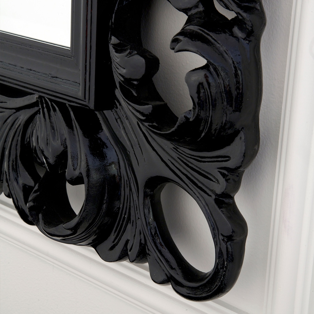 High End Designer Italian Black Rococo Mirror Juliettes Intended For Black Rococo Mirror (Image 6 of 15)