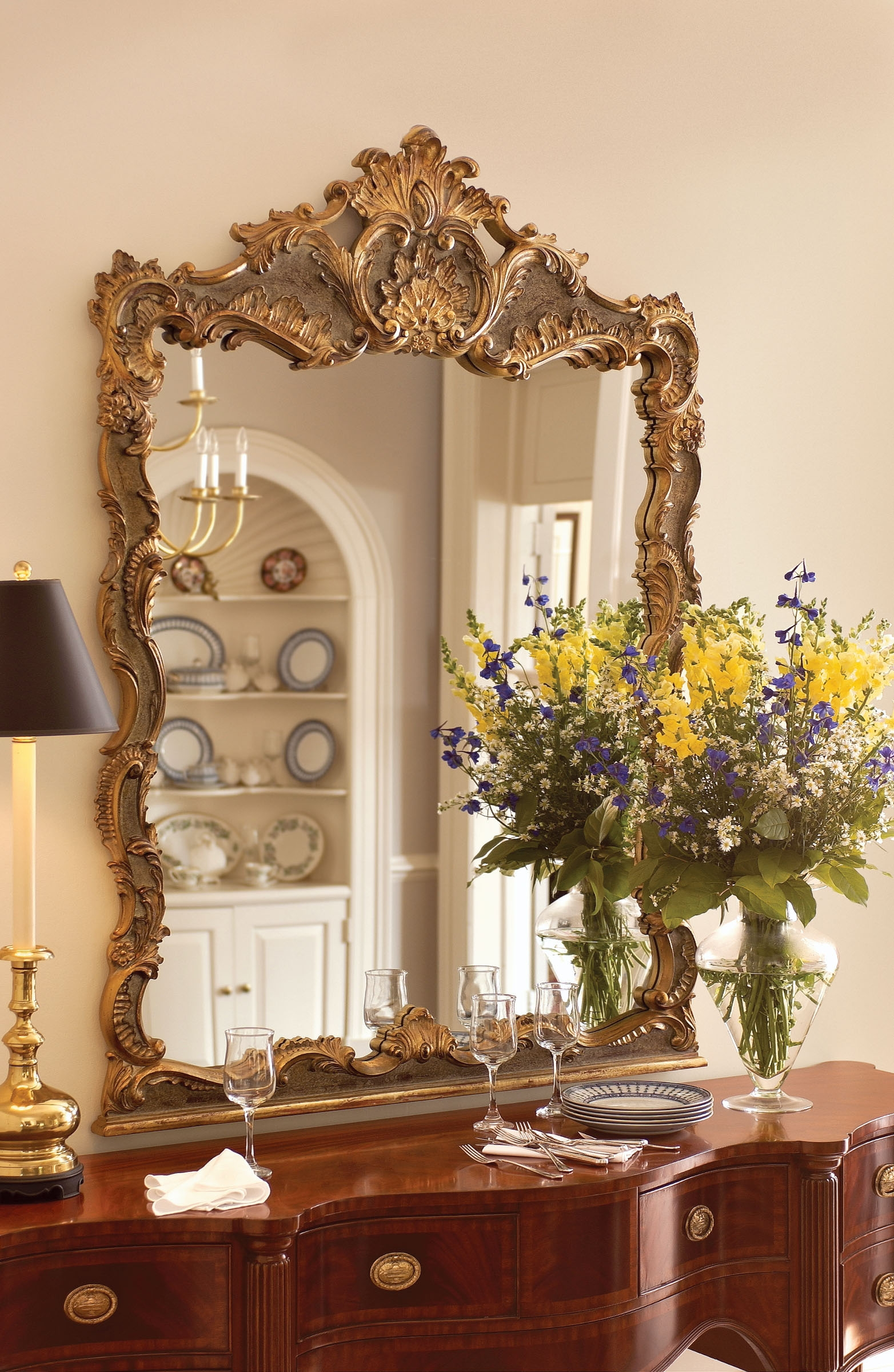 High End Home Furnishings Rugs Accessories In Baroque Mirror Large (View 9 of 15)