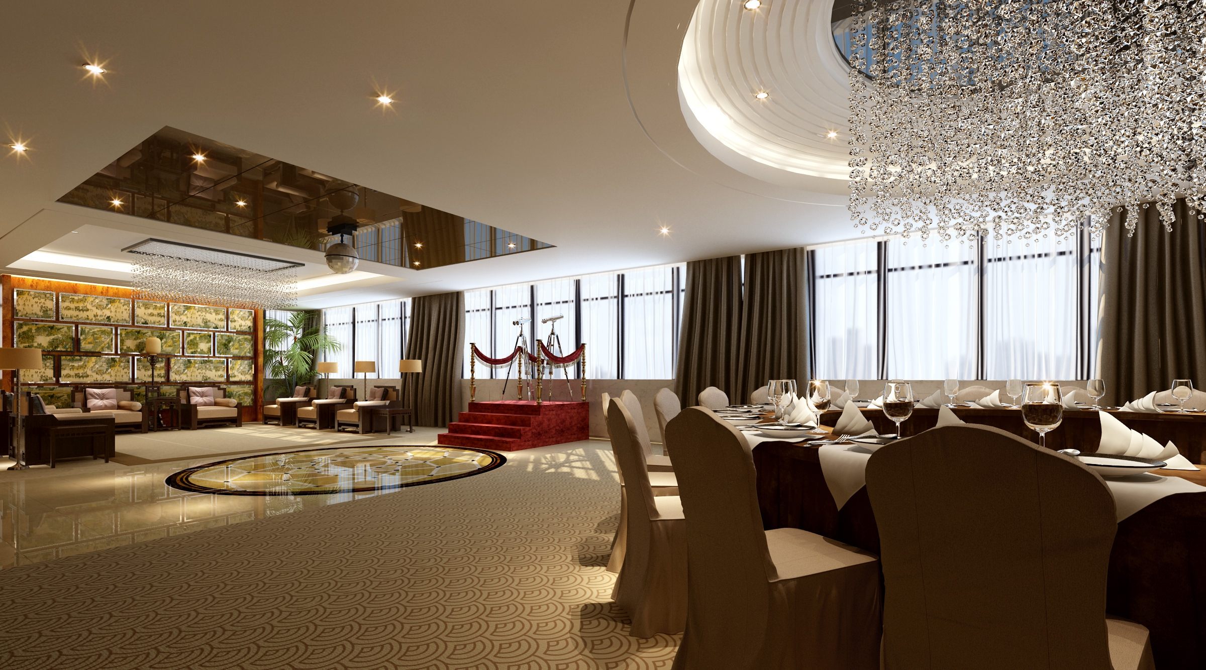 High End Restaurant With Classy Chandeliers 3d Model Max With Regard To Restaurant Chandeliers (View 7 of 15)