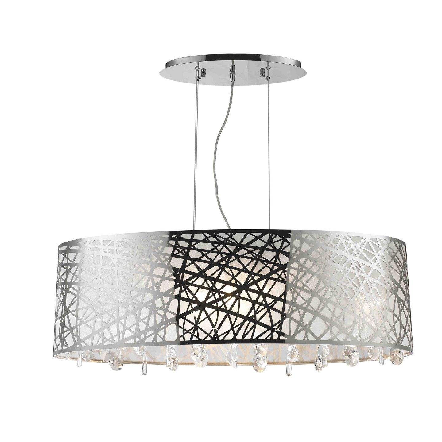 High Gloss Modern 8 Light Halogen Chrome Finish Oval Drum Shade With Regard To Modern Chrome Chandeliers (Image 10 of 15)