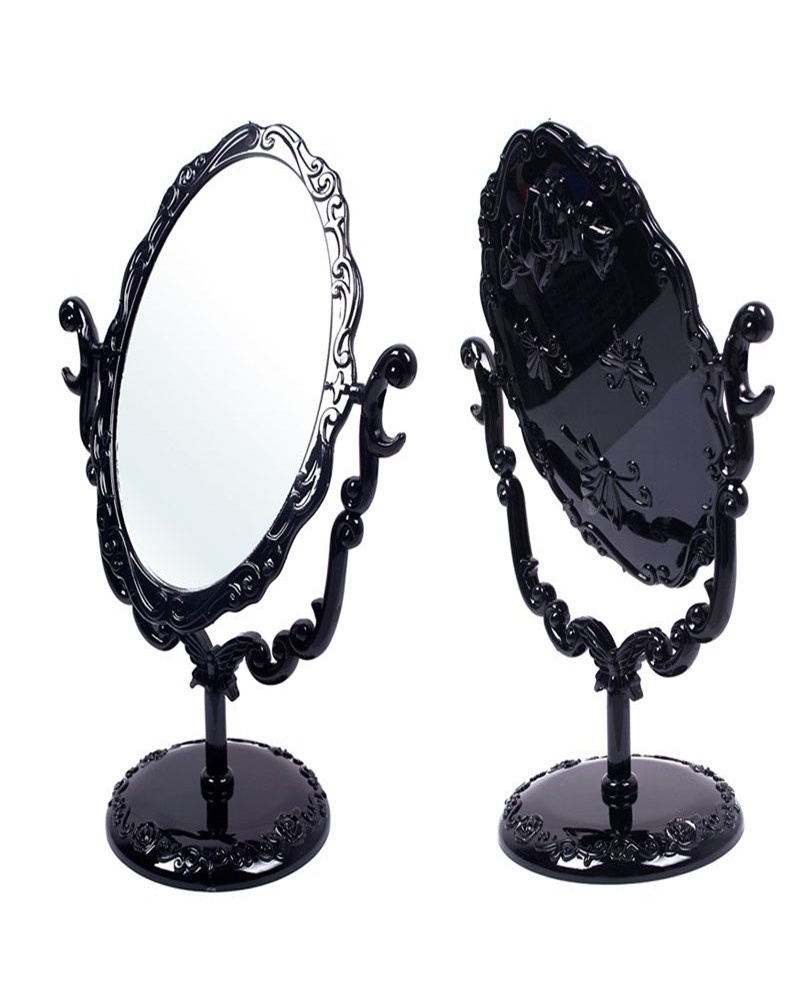 High Quality New Makeup Desktop Rotatable Gothic Small Size Rose With Regard To Black Free Standing Mirror (Image 9 of 15)