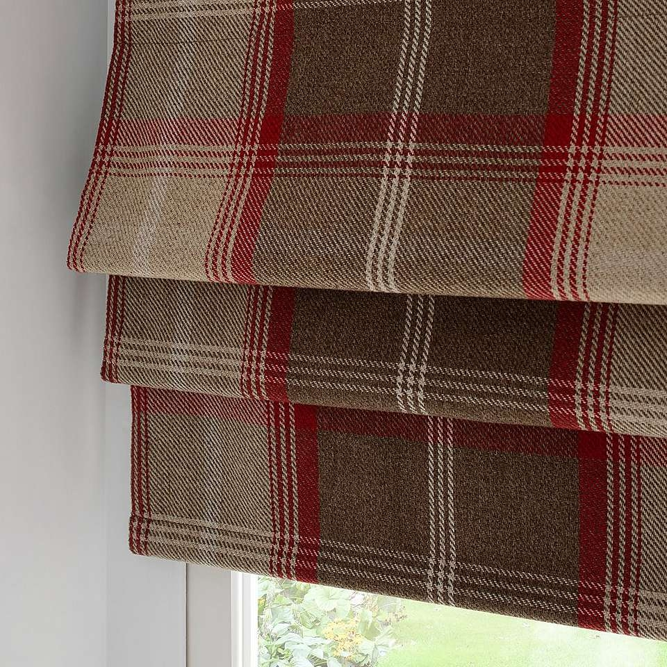 Highland Red Check Blackout Roman Blind Dunelm Roman Blinds Regarding Plaid Roman Blinds (Image 5 of 15)