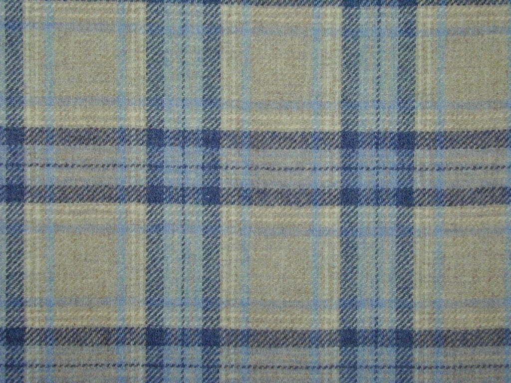 Highland Wool Tartan Check Natural Blue Navy Curtain Light In Natural Fabric Curtain (Image 6 of 15)