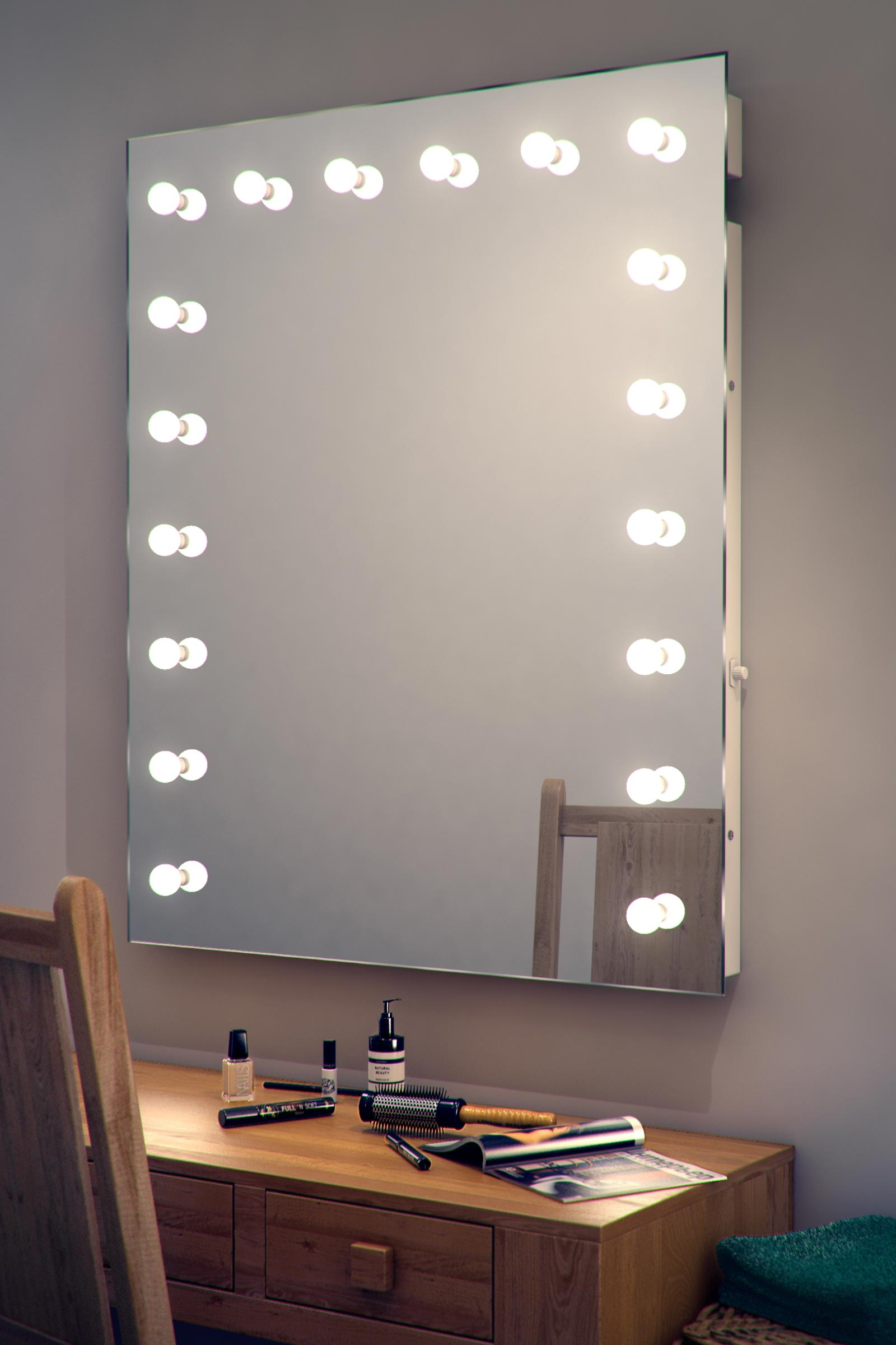 Hollywood Makeup Dressing Room Mirror With Dimmable Led Lamps Regarding Illuminated Dressing Table Mirrors (Image 12 of 15)
