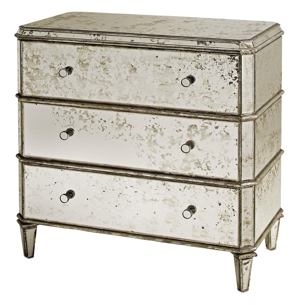 Hollywood Regency Antique Mirror Bedside Dresser Nightstand Within Antique Mirrored Bedside Tables (Image 12 of 15)