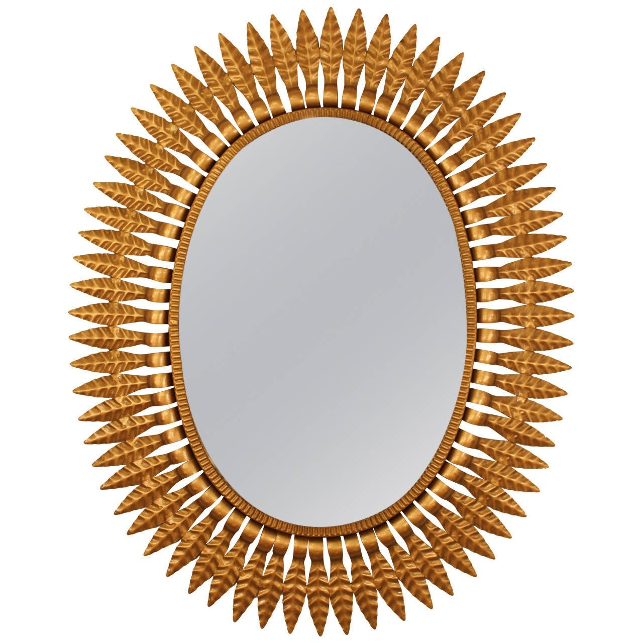 Hollywood Regency Gilt Metal Oval Sunburst Mirror For Sale At 1stdibs With Regard To Large Sunburst Mirrors For Sale (Image 3 of 15)