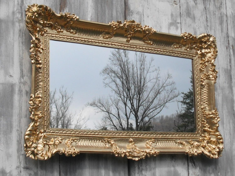 Hollywood Regency Mirror Gold Baroque Victorian Restaurant Within Baroque Mirror (Image 10 of 15)