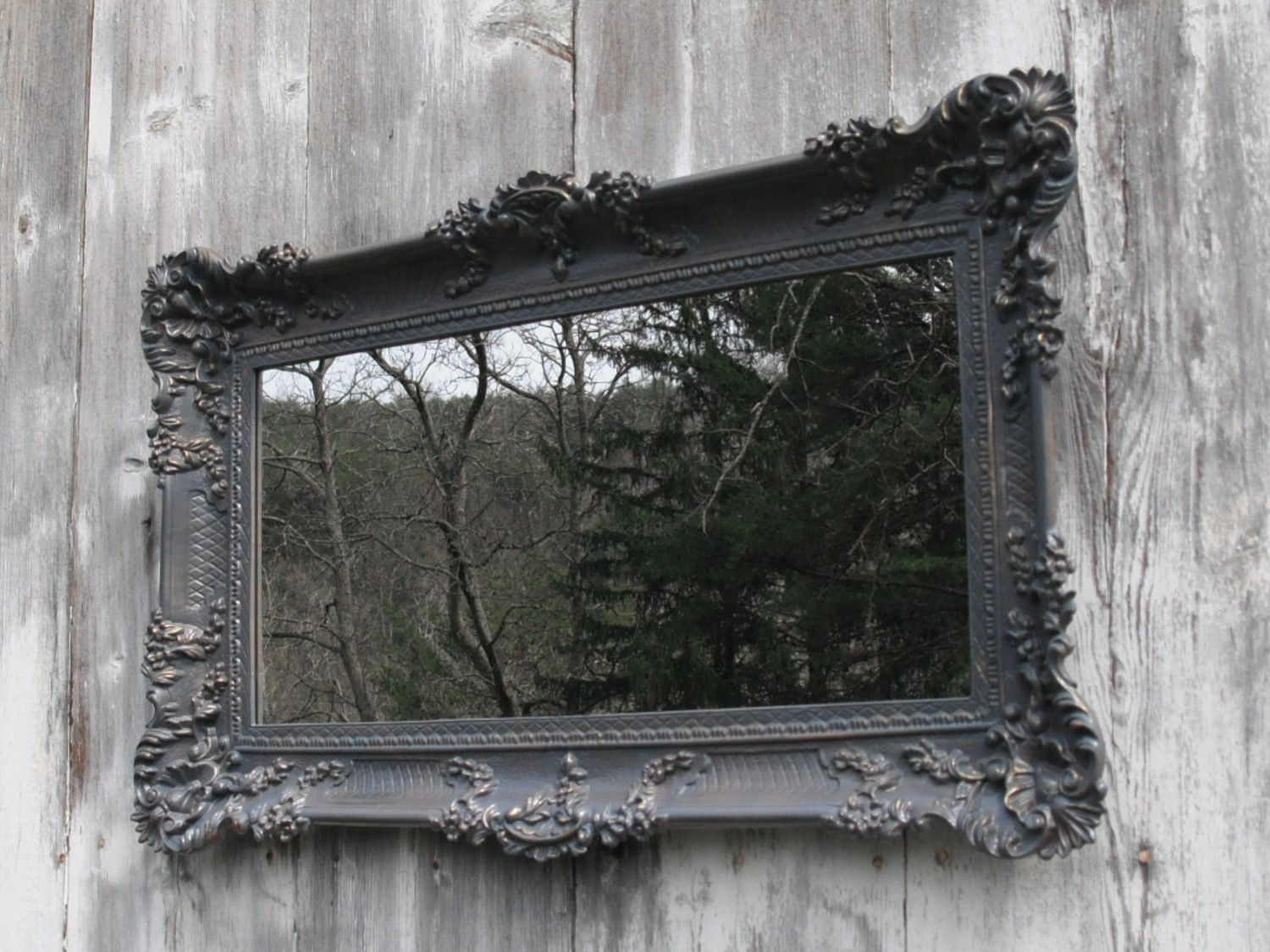 Hollywood Regency Mirror Ornate Baroque Victorian The With Ornate Black Mirror (Image 7 of 15)