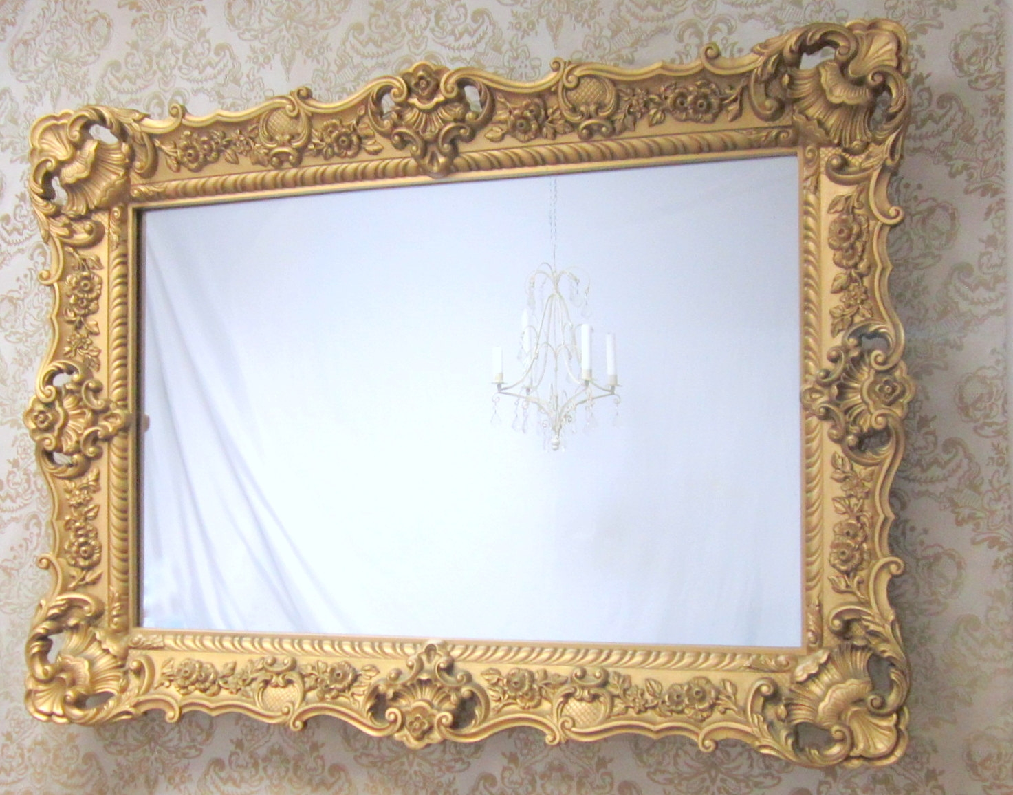 Hollywood Regency Mirrors For Sale 45×33 Large Vanity Mirror In Gold Ornate Mirror (Image 4 of 15)