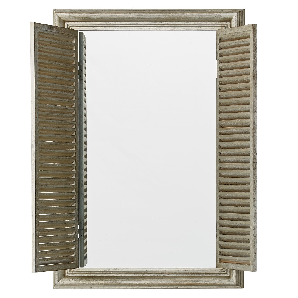 Home Decor Home Decor Miranda Grey Wooden Wall Mirror With With Wall Mirror With Shutters (Image 11 of 15)