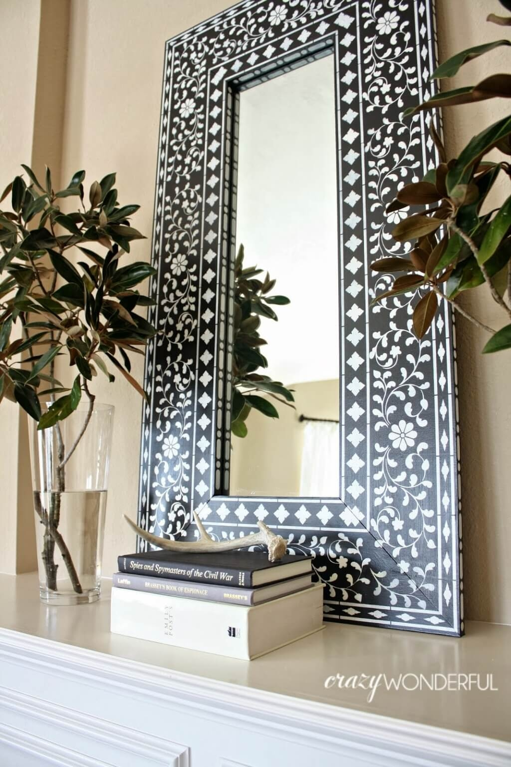Home Decoration Vintage Wall Decor Mirrors With Decorative Wooden Throughout Big White Mirrors (Image 8 of 15)