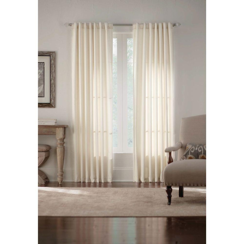 Home Decorators Collection Ivory Monaco Thermal Foam Backed Lined Pertaining To White Thermal Curtains (View 6 of 15)