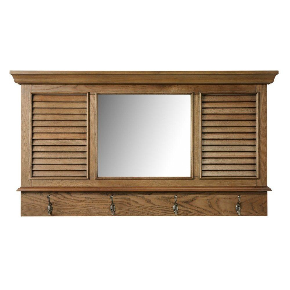 Home Decorators Collection Shutter 2325 In H X 43 In W In Oak Framed Wall Mirrors (Image 3 of 15)