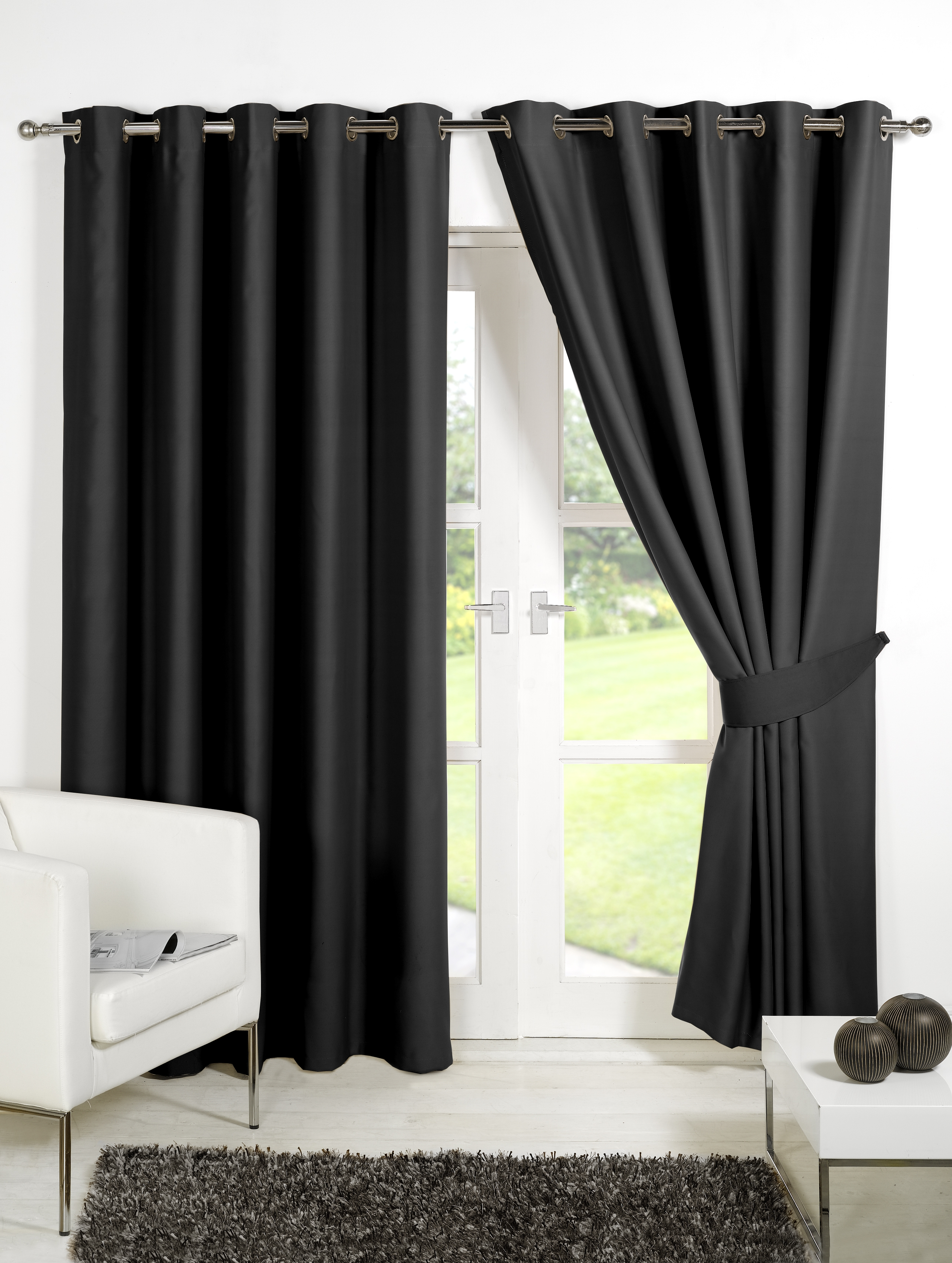 Home Furnishings Curtains Luxury Eyelet Blackout Curtains In Blue Blackout Curtains Eyelet (Image 8 of 15)