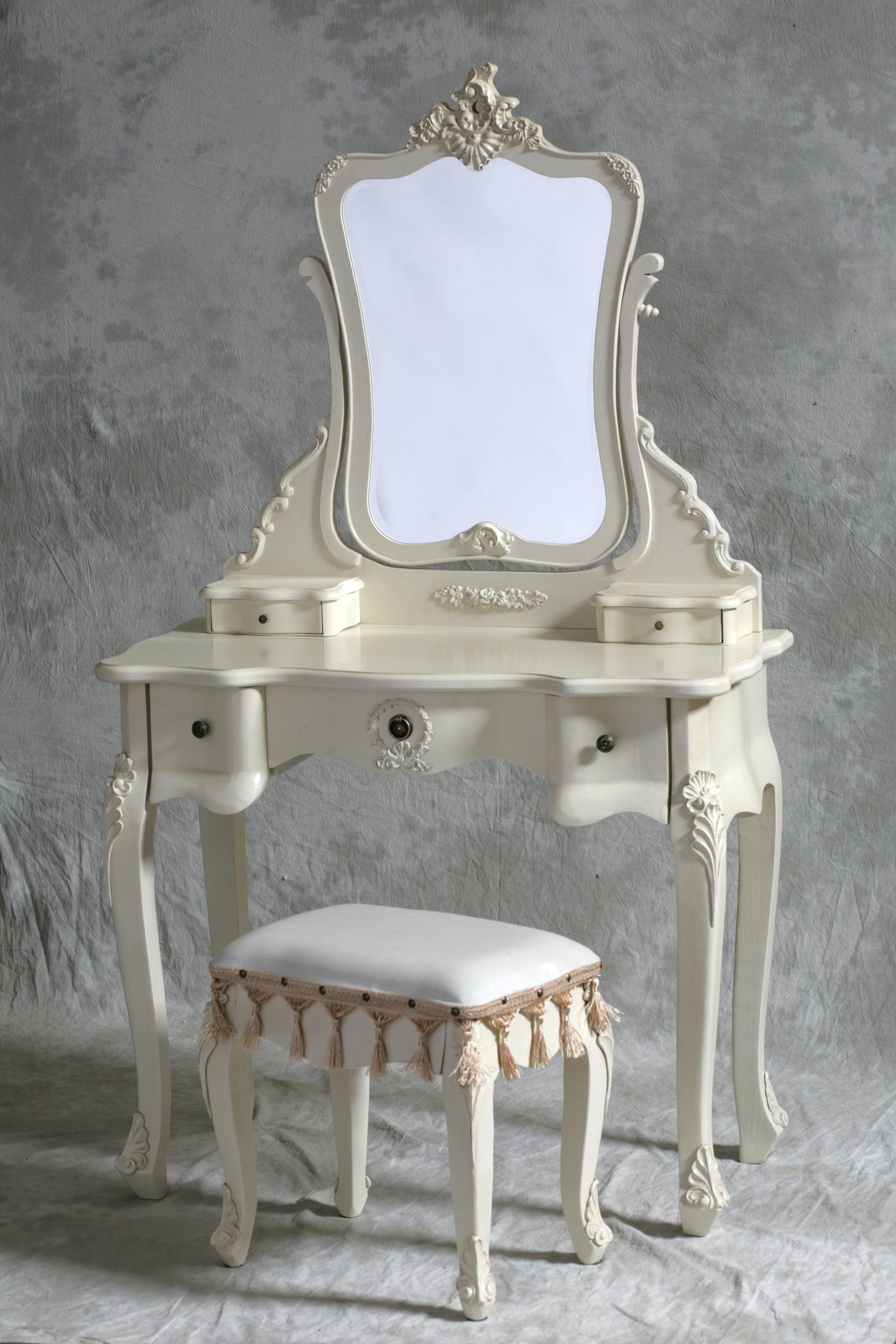 Home Kandi Amelia Cream Large French Rococo Dressing Table Intended For French Style Dressing Table Mirror (Image 10 of 15)