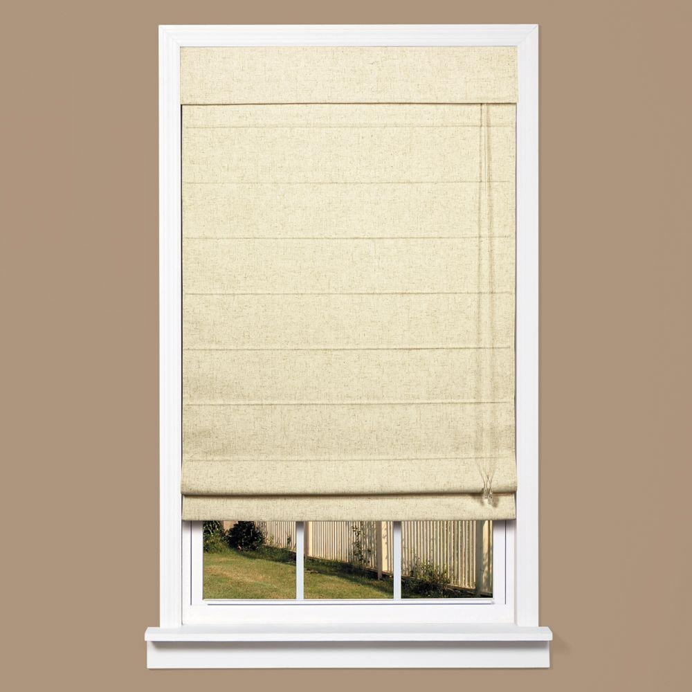 Homebasics Natural Linen Look Thermal Blackout Fabric Roman Shade Within Natural Linen Roman Blinds (Image 4 of 15)