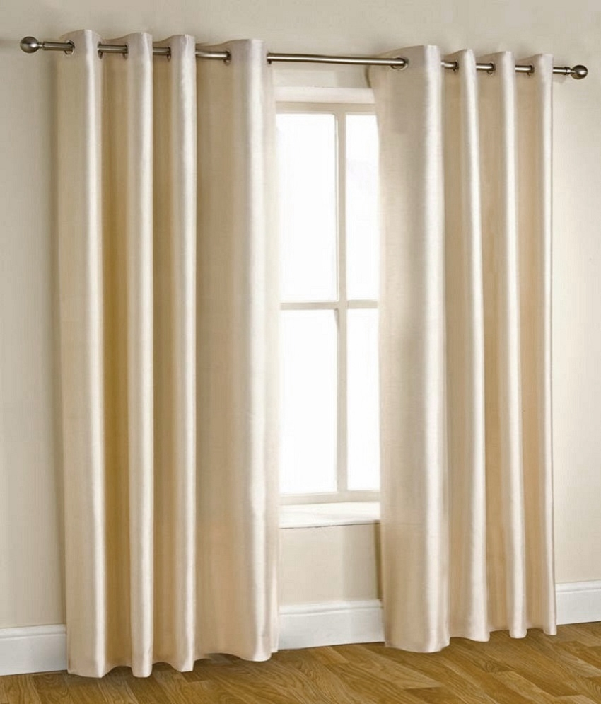 Homefab India Set Of 2 Long Door Eyelet Curtains Solid White Buy With Long Eyelet Curtains (Image 6 of 15)