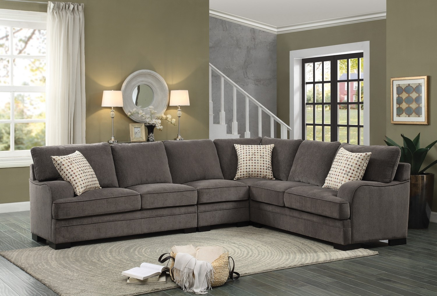 Homelegance Alamosa Sectional Sofa Set Chenille Brown 8335 Regarding Chenille Sectional Sofas (Image 9 of 15)