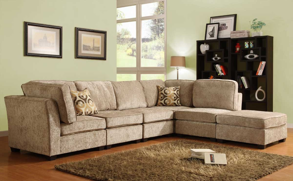 Homelegance Burke Sectional Sofa Set A Brown Beige Chenille For Chenille Sectional Sofas (Image 10 of 15)