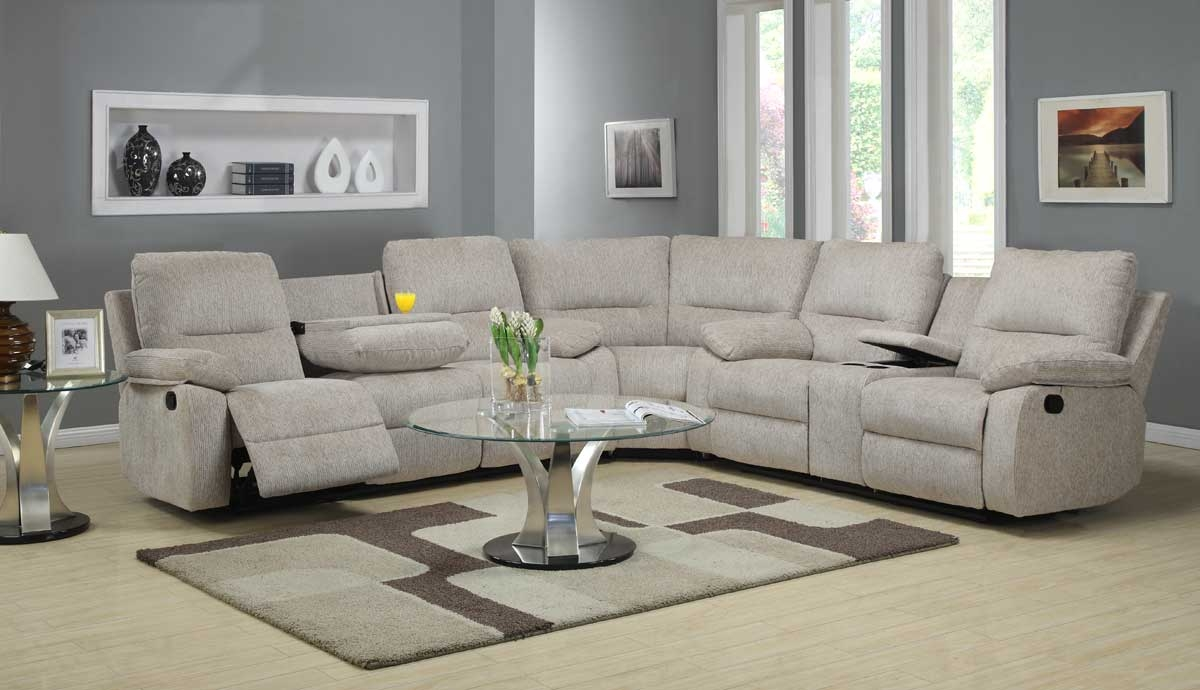 Homelegance Marianna Modular Reclining Sectional Sofa Set Beige Inside Chenille And Leather Sectional Sofa (Image 11 of 15)