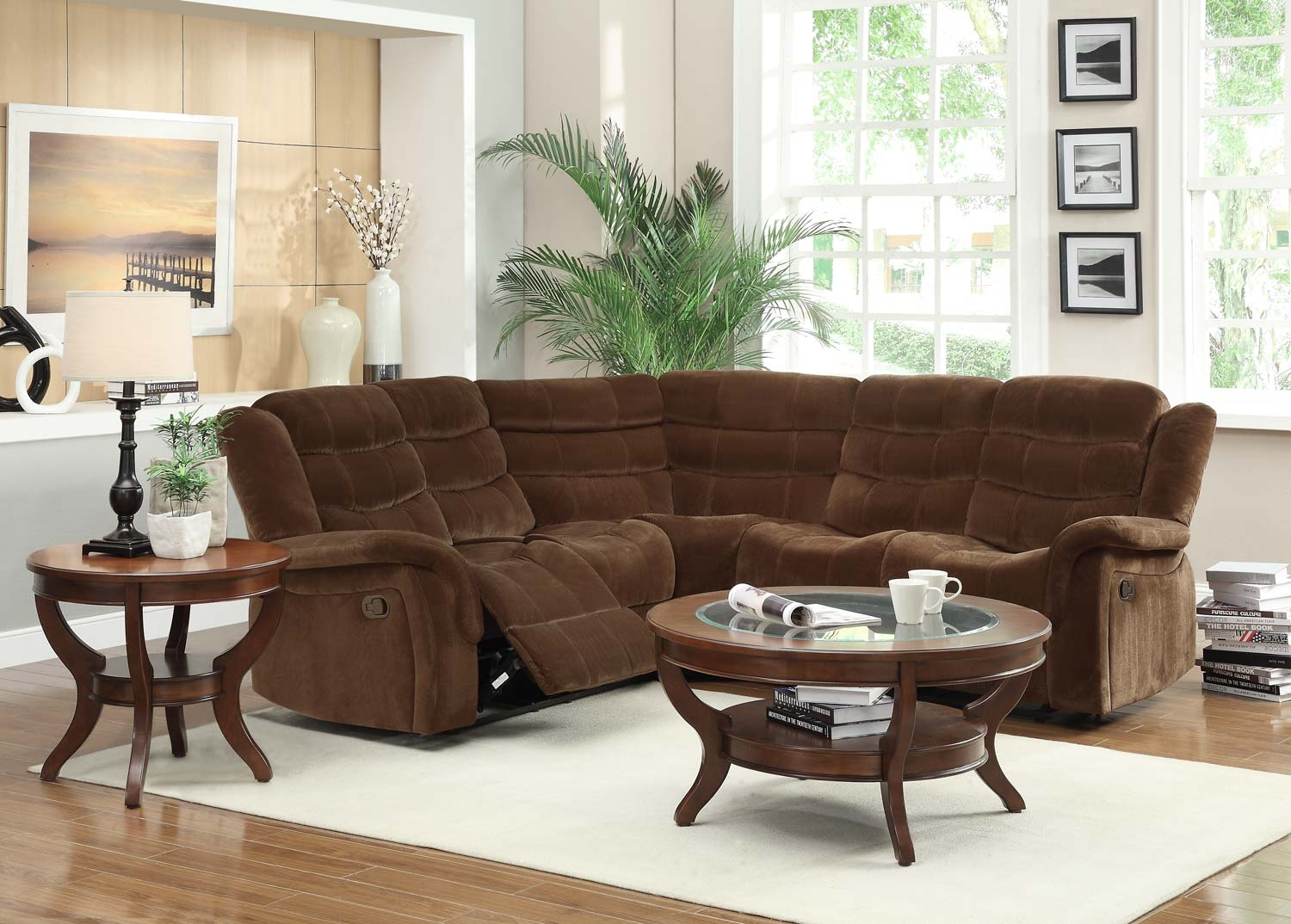 Homelegance Norton Reclining Sectional Sofa Set Chocolate In Chocolate Brown Sectional Sofa (Image 13 of 15)
