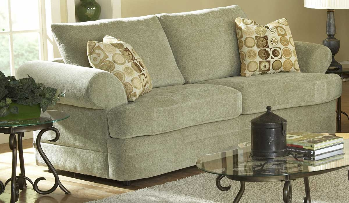 Homelegance Sutton Sofa In Mint Chenille 9839mt 3 Inside Chenille And Leather Sectional Sofa (Image 12 of 15)