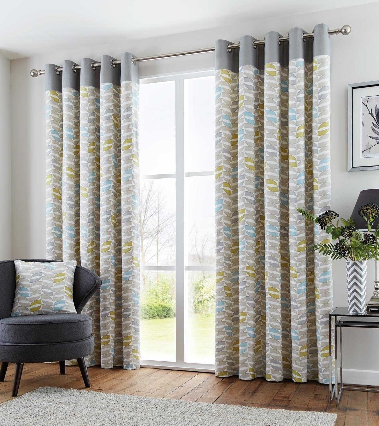 Homescapes 1 Pair Of Morocco Ribbed Stripe Curtains Yellow 72 Throughout 100 Inch Drop Curtains (Image 10 of 15)