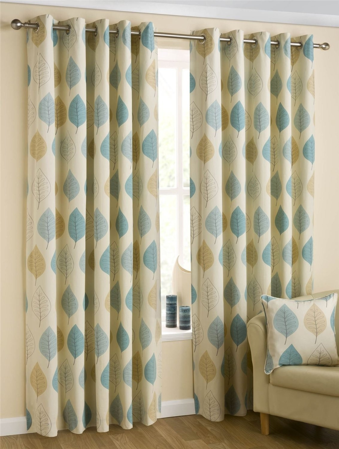 Homescapes Duck Egg Blue Cream Eyelet Ring Top Cotton Curtains With Cotton Eyelet Curtains (View 9 of 15)