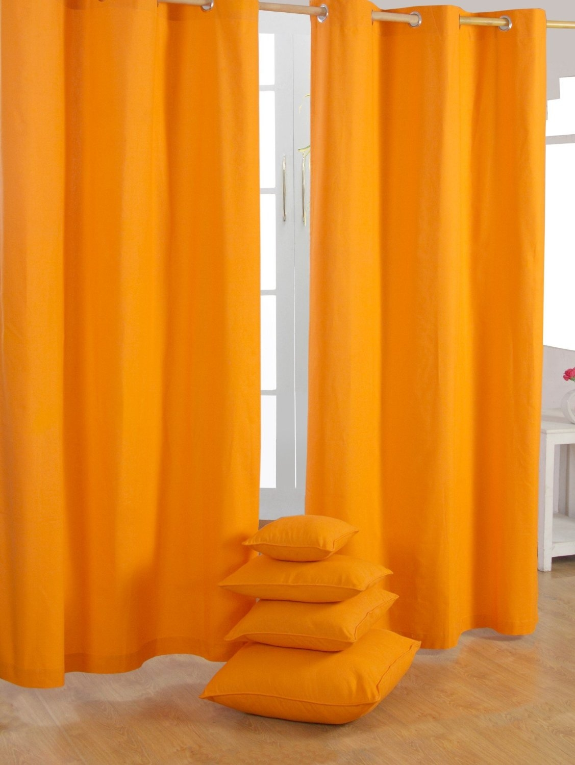 Homescapes Pair Of 100 Cotton Ready Made Curtains Plain Colour Inside 100 Inch Drop Curtains (Image 11 of 15)