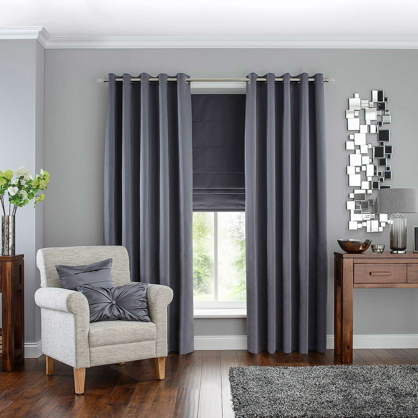 Hotel Grey Venice Blackout Eyelet Curtains Dunelm Divine Decor Throughout Blackout Curtains And Blinds (Image 10 of 15)