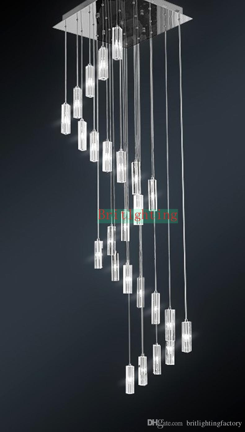 Hotel Staircase Chandelier Modern Lighting Fixture Square Pertaining To Stairwell Chandelier Lighting (View 11 of 15)
