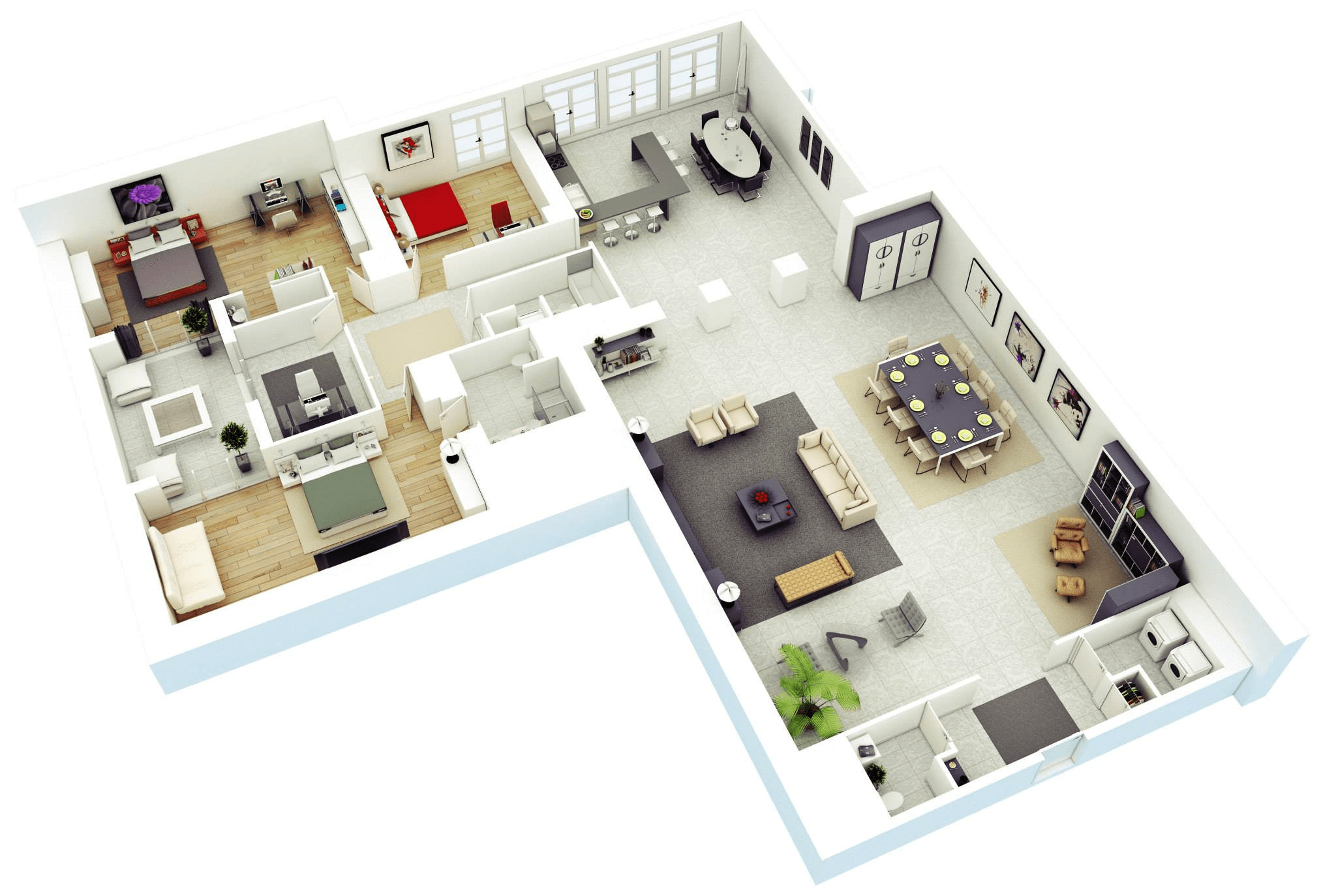House Floor Plans With 3 Bedroom And 3 Bathroom 3d Layout (Image 8 of 11)