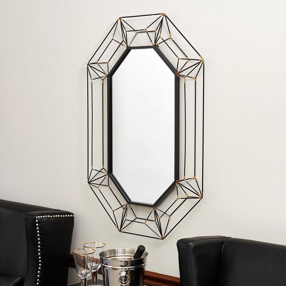 Household Essentials Large Oval Wall Mirror In Black Metal 2358 1 In Large Oval Wall Mirror (Image 9 of 14)